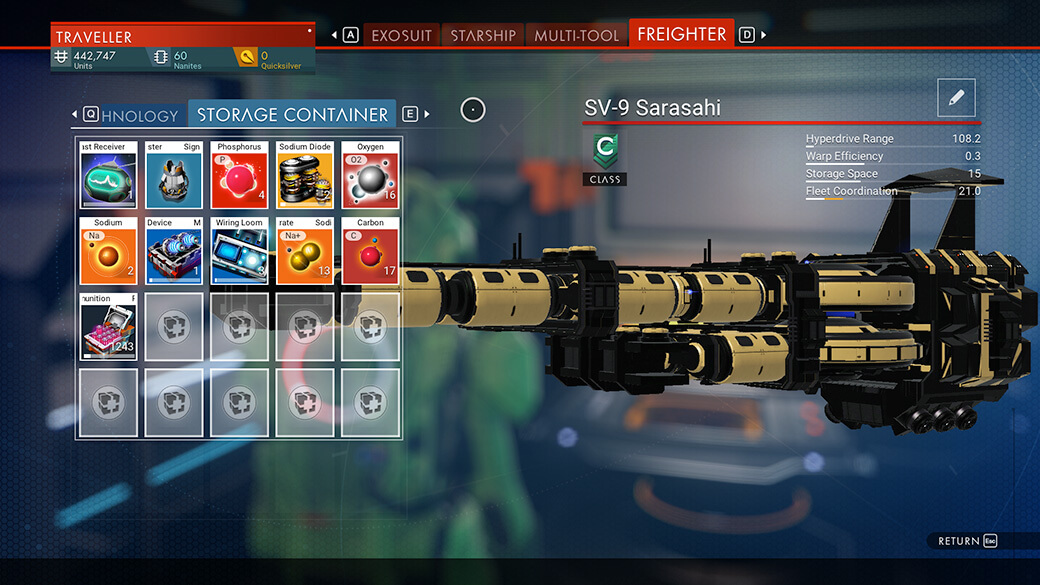 NMS - Freighter inventory management #1